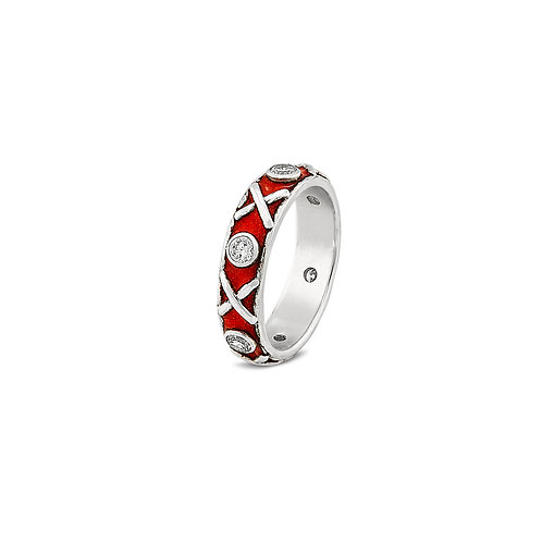 Enamelled Kiss Hug diamond set eternity ring