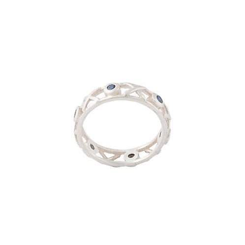 Sterling silver fine Kiss Hug ring set with round blue sapphires