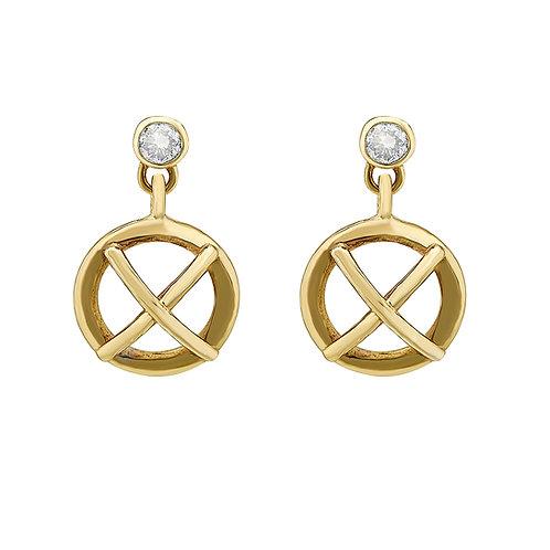 Large 9ct yellow gold Kiss Hug drop earrings with diamonds