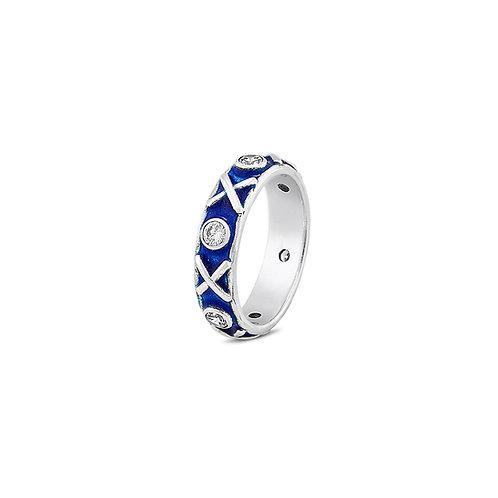 Enamelled Kiss Hug diamond set eternity ring