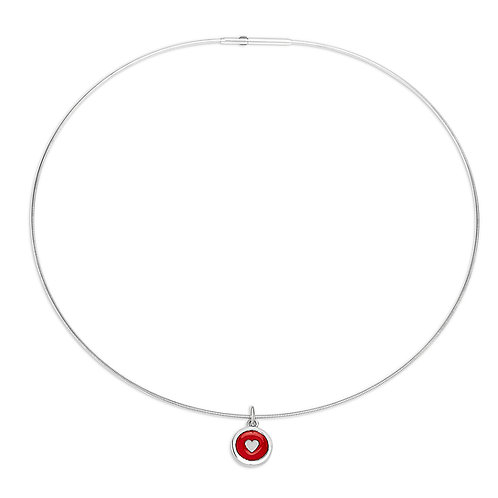 Enamelled red silver heart charm on silver cable