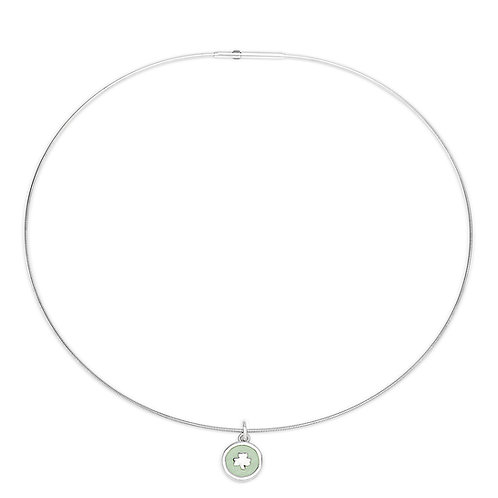 Enamelled peppermint green silver shamrock charm on silver cable