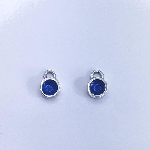 Enamelled blue dot earring charms side by side