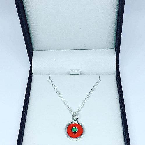 Silver birthstone pendant red enamel & an emerald