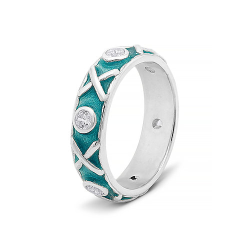 Transparent turquoise enamel eternity ring. Silver with diamonds