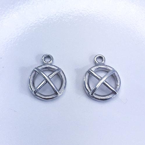 Silver Kiss Hug interchangable earring charms.