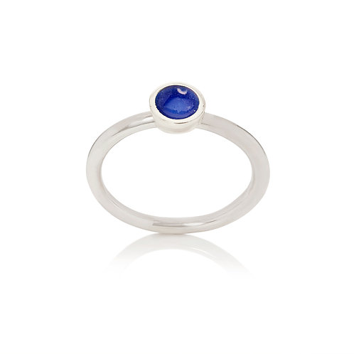 Enamelled silver dot stacking ring in windsor blue