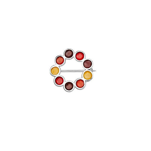Enamelled silver Encircled brooch in various opaque autumnal colours