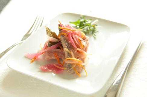 Mackerel marinated in vinegar and citrus fruit