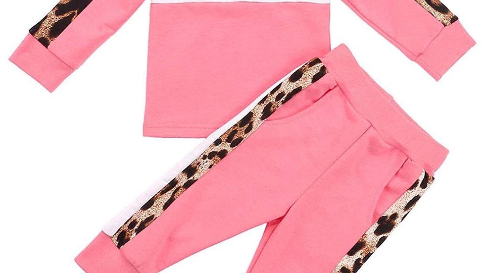 2PC Pink Cheetah Print Sweatpants Outfit