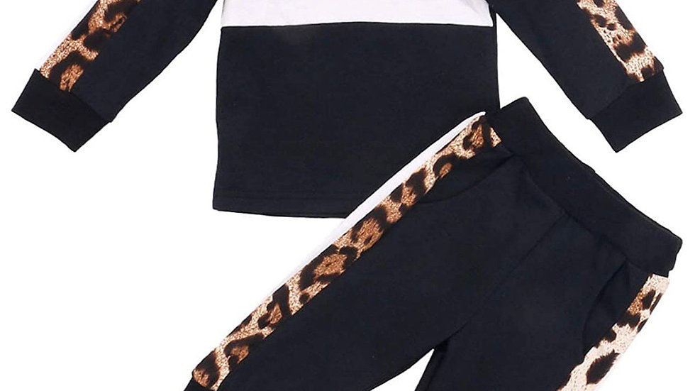 2PC Black Cheetah Print Sweatpants Outfit