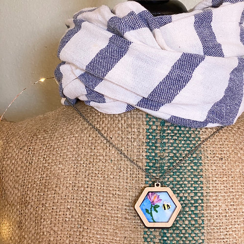 Bumble Bloom Hand Embroidered Mini Hoop Necklace