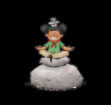 Caludio Black Hair Animated Meditating
