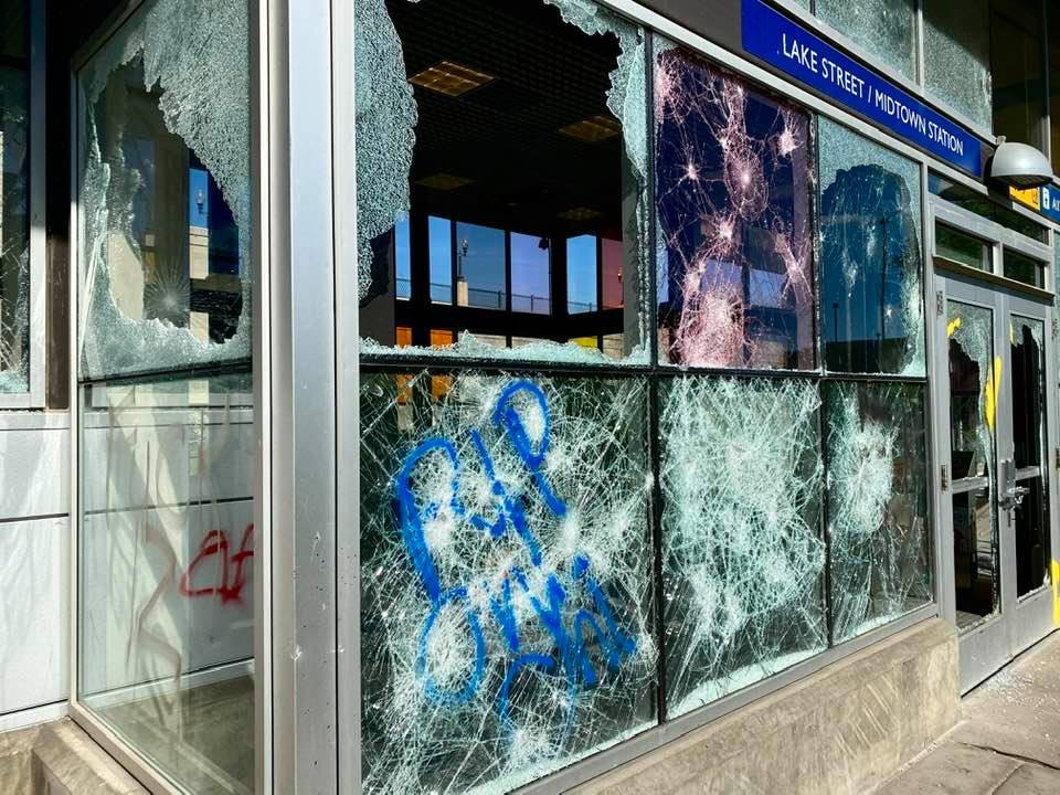 A Mpls Bus Stop destroyed during protests over the death of George Floyd