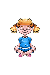 Animated Young Blonde Girl Meditating Blue Dress