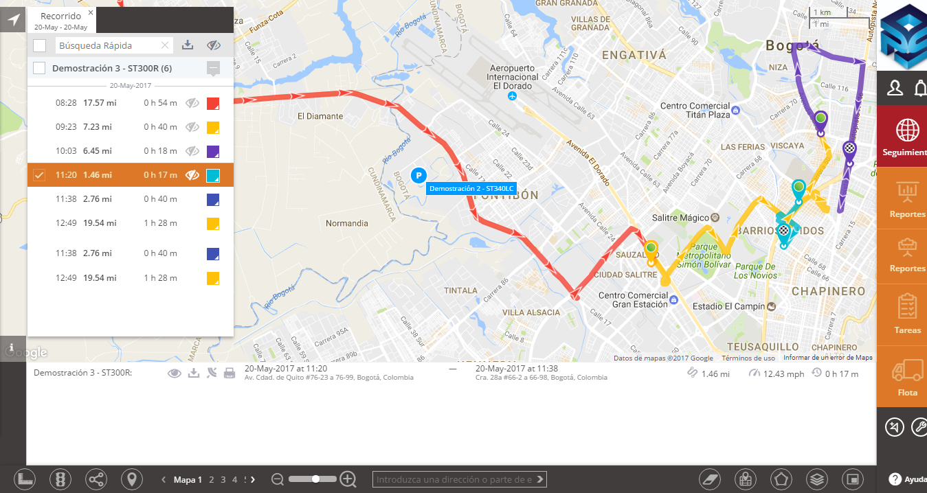 Visualización de Rutas