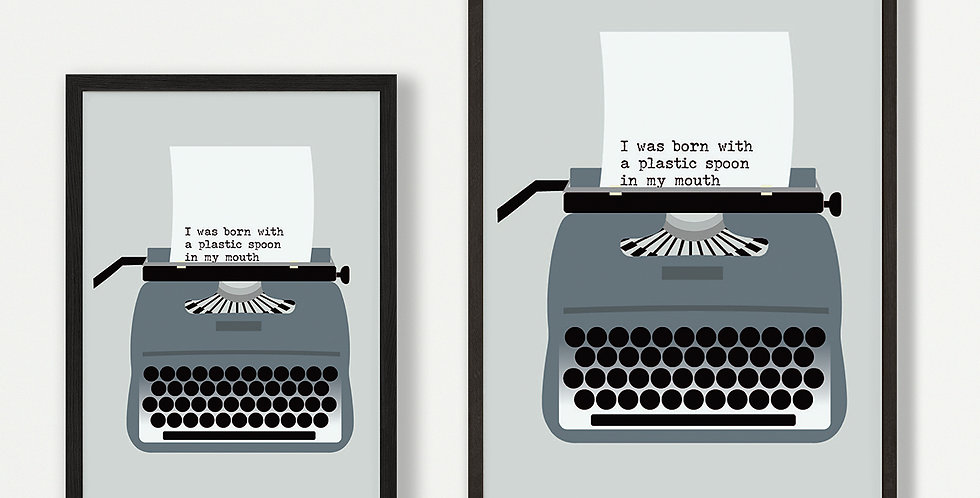 Grey Typewriter unframed print - wholesale
