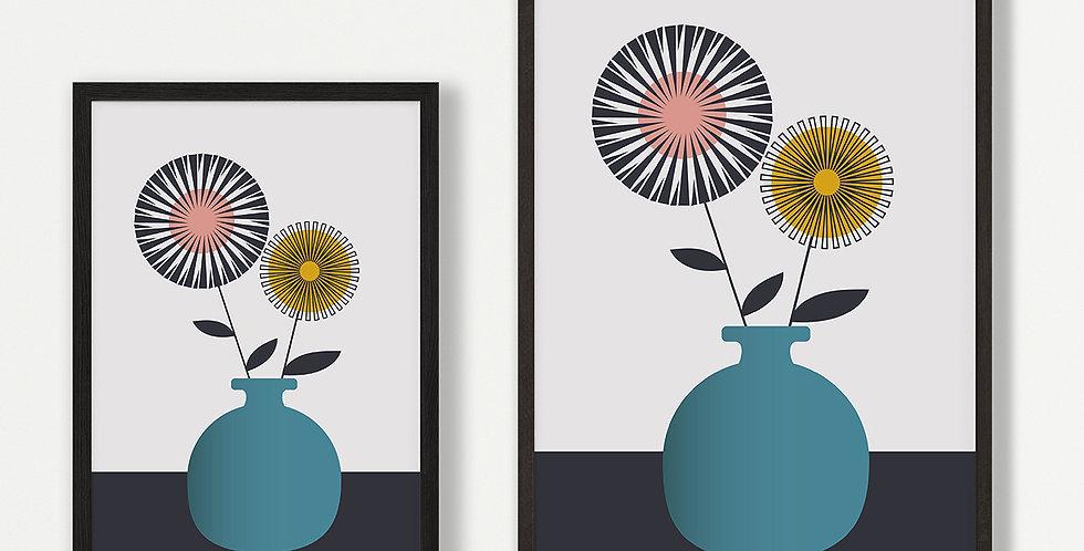 Teal Vase Unframed Print