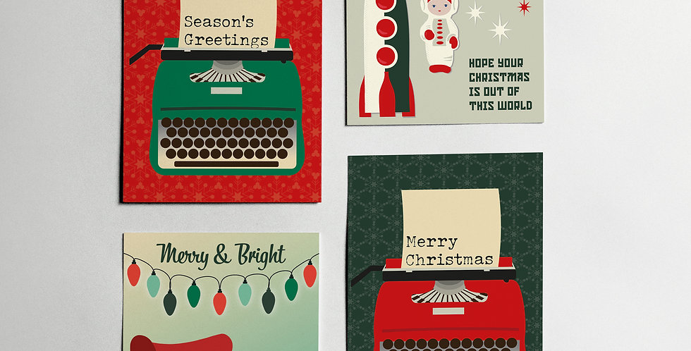 Set of Christmas Cards (all four designs)