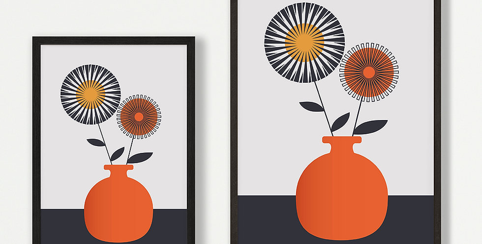 Orange Vase Unframed Print