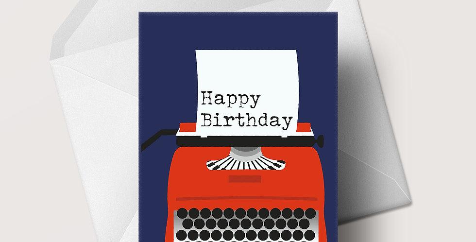 Red Typewriter A5 greeting card