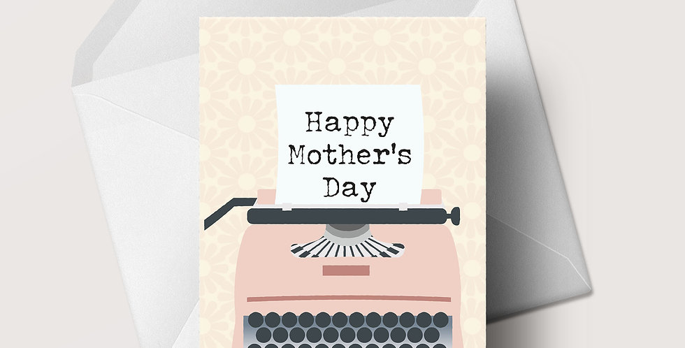 Mother's Day Floral Typewriter A5 greeting card