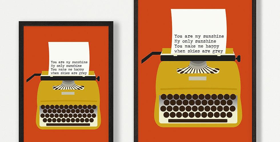 Yellow Typewriter unframed print - wholesale