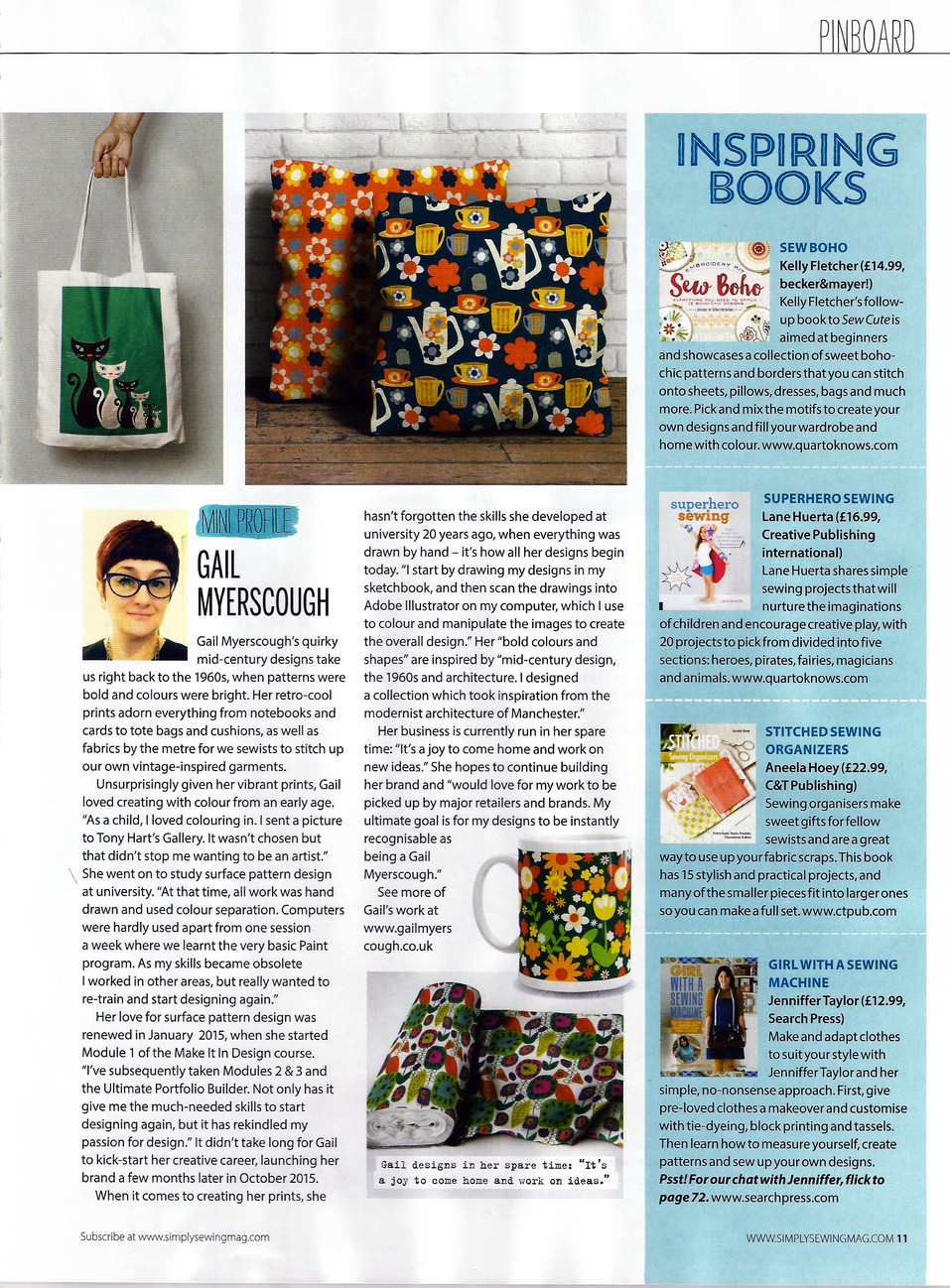 Simply Sewing magazine Gail Myerscough