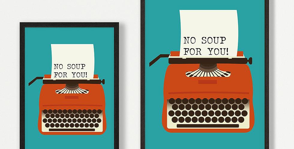 Orange Typewriter unframed print