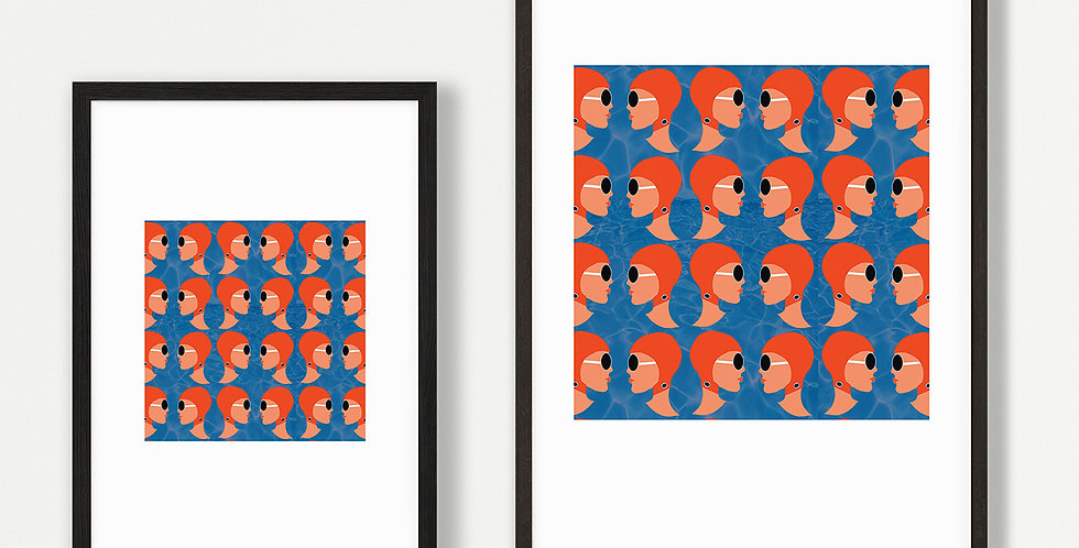 Lido Ladies Orange Print Unframed