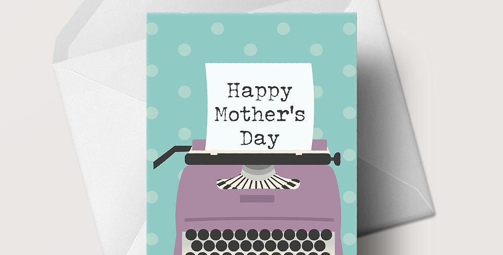 Mother's Day Polka Dot Typewriter A5 greeting card