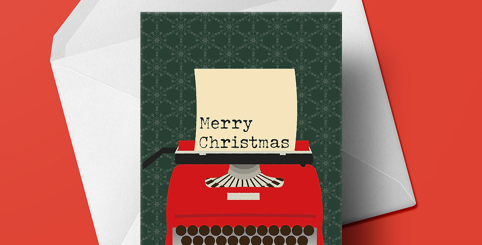 Merry Christmas Typewriter Christmas card