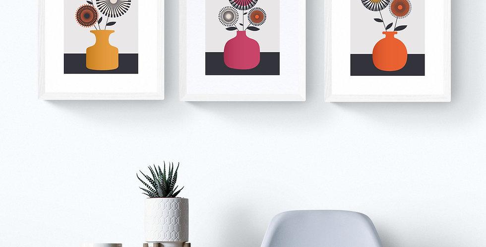 Set of Three Vase Unframed Prints - Cerise, Orange & Yellow