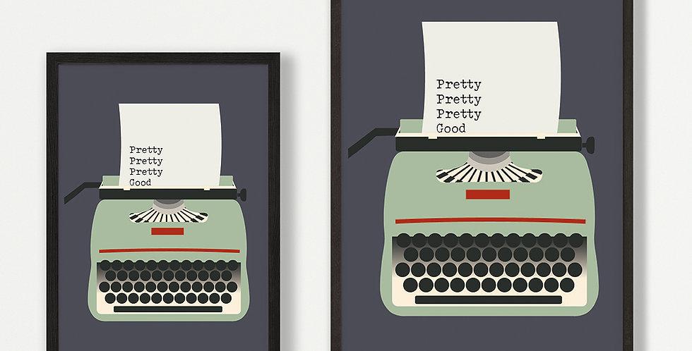Green Typewriter unframed print