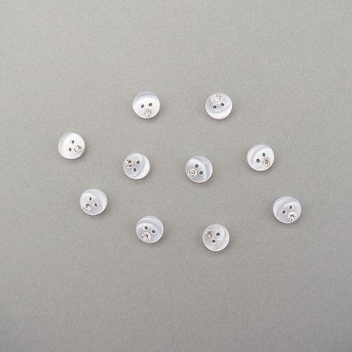Kleine Knöpfe mit Strass-Stein 2-Loch 10 mm -Hell-Ivory-