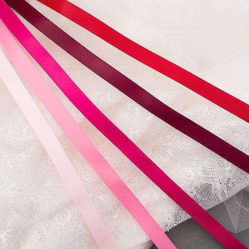 Satinband matt glänzend in 16mm Breite, Pink und Rot-Töne