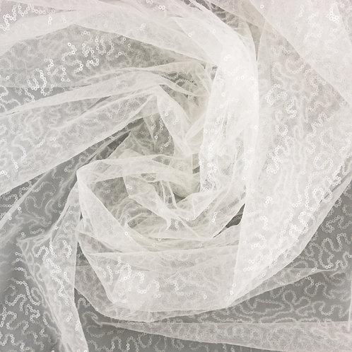 Tüll mit Pailletten, mittelschwer, Farbton Ivory