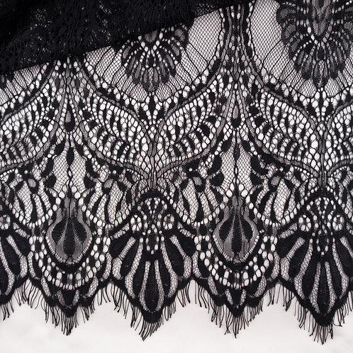 Spitze mit Bogenkante, dicke Qualität, Farbe Schwarz