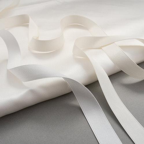 Mattes Satinband in 16mm Breite, Farben Ivory hell & Ivory