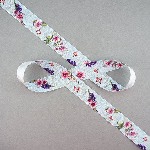 Satinband mit Blüten und Schrift, 25 mm Breite
