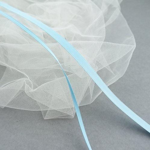 Satinband matt glänzend in 3 und 6mm Breite, Farbe Hell-Blau
