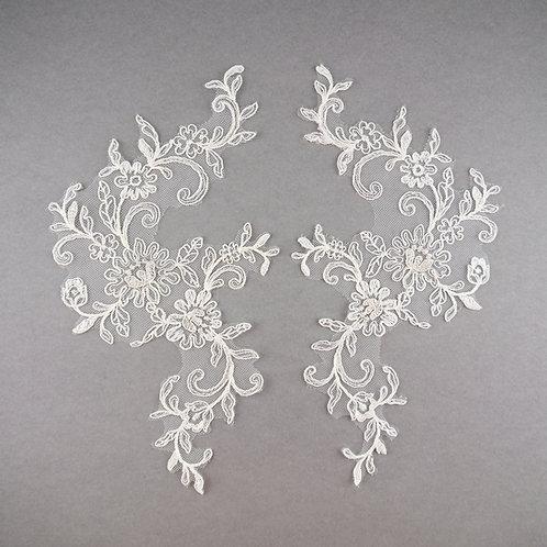 Spitzen-Elemente Paar in Ivory & Silber