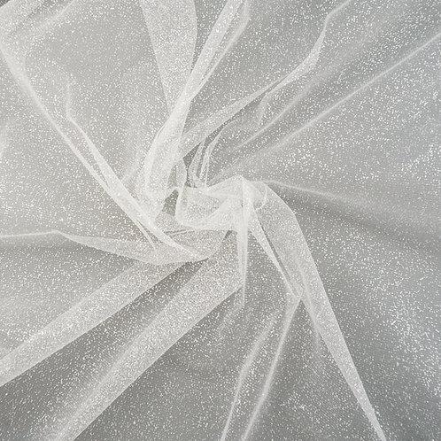 Glitzer-Tüll, beflockt, Farbton Ivory