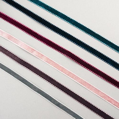 Samtband mit gesteppter Zierkante, 11mm Breite, diverse Farben