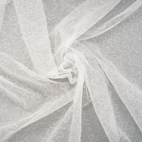 Tüll mit Pailletten (klar), Glitzertüll, Farbton Ivory