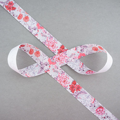 Ripsband mit Blüten in 25mm Breite