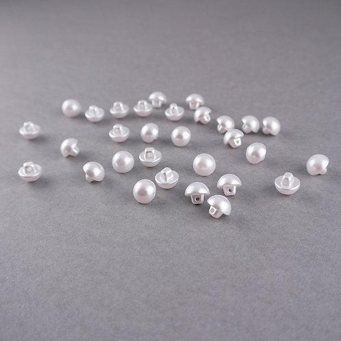 Halbkugel-Knöpfe Perle 9 mm -Weiß-