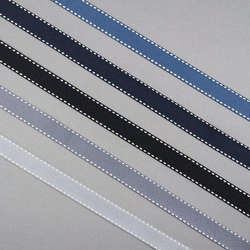Ripsband gesteppt in 16mm Breite, diverse kühle Farben