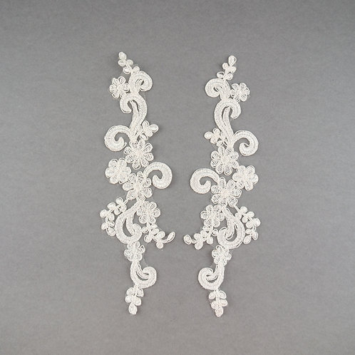 Spitzen-Elemente Paar, Ornament, in Farbe Ivory klassisch