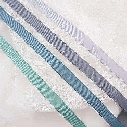 Ripsband mit glatter Kante in 16mm Breite, Grau-Blau-Grün